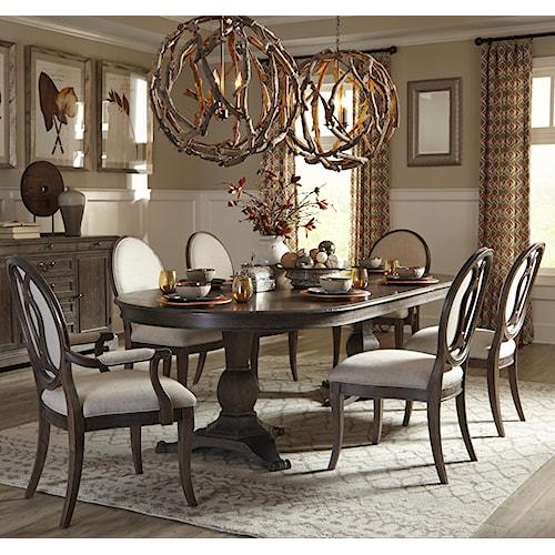 A.R.T. Furniture Inc Saint Germain 7-Piece Double Pedestal Dining Table Set