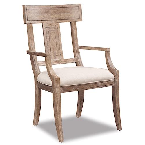 Belfort Signature Madera Contemporary Splat Back Arm  Dining Chair