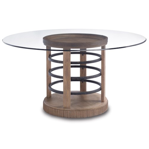 Belfort Signature Madera Contemporary Round Glass Dining Table w/ Basket Style Pedestal