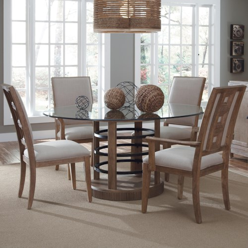 A.R.T. Furniture Inc Ventura Contemporary Round Glass Dining Table & Chair Set