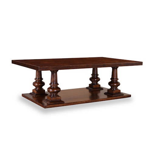 A.R.T. Furniture Inc Whiskey Oak 4-Pedestal Rectangular Cocktail Table