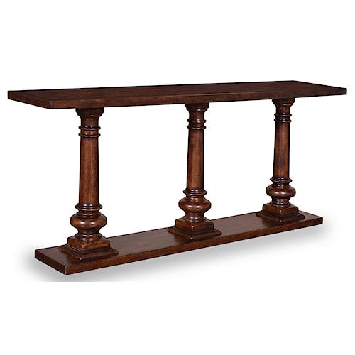 A.R.T. Furniture Inc Whiskey Oak Rustic Pedestal Sofa Table