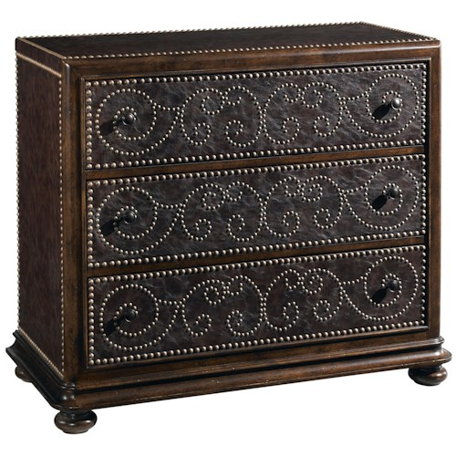 A.R.T. Furniture Inc Whiskey Oak Rustic 3-Drawer Leather Chest