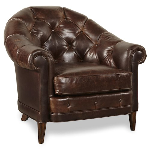 A.R.T. Furniture Inc Kennedy Walnut Club Leather Chair with Tufted Back