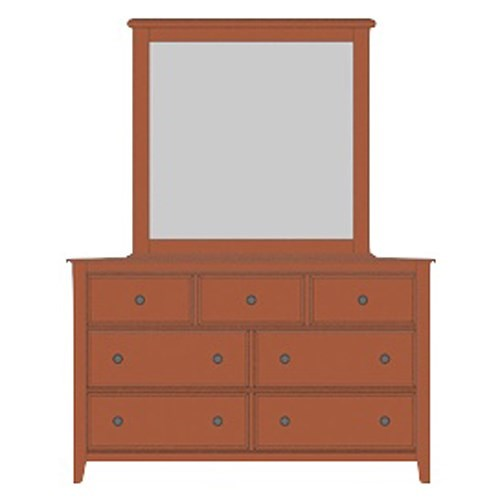 Artisan & Post Artisan Choices Solid Wood Loft Triple Dresser & Tall Landscape Mirror