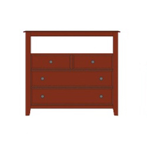 Artisan & Post by Vaughan Bassett Artisan Choices Solid Wood Loft Media Chest - 4 Drawers and Open Shelf