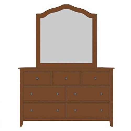 Artisan & Post by Vaughan Bassett Artisan Choices Solid Wood Loft Triple Dresser & Tall Arched Mirror