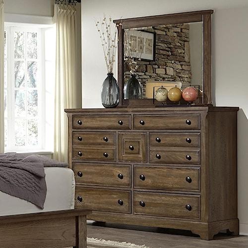 Artisan & Post by Vaughan Bassett Artisan Choices Solid Wood Villa Triple Dresser & Landscape Mirror