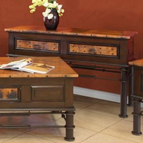 International Furniture Direct 300 Valencia 2 Drawer Console Table with Copper Top and Drawers, Hand Forged Iron Base and Nail Head Trim
