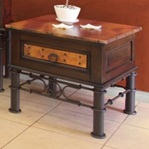 International Furniture Direct 300 Valencia Single Drawer End Table with Copper Top and Drawer, Hand Forged Iron Base and Nail Head Trim
