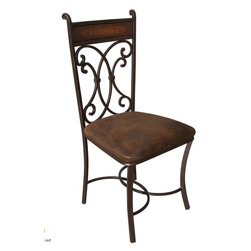 International Furniture Direct 300 Valencia Dining Side Chair with Brown Upholstered Seat and Scrolled Iron Back