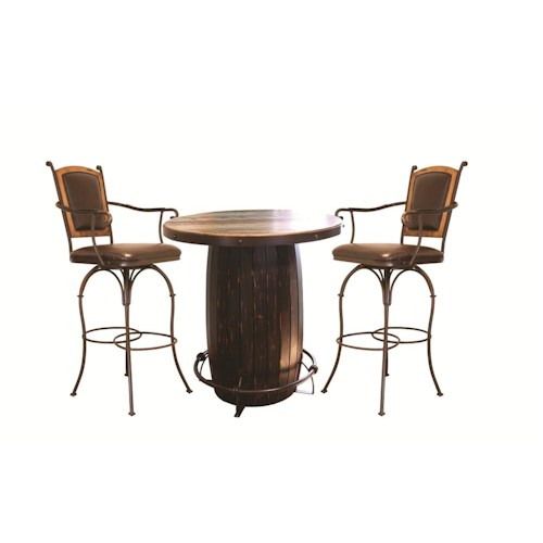 International Furniture Direct 970 3 PC Barrel Bistro Set