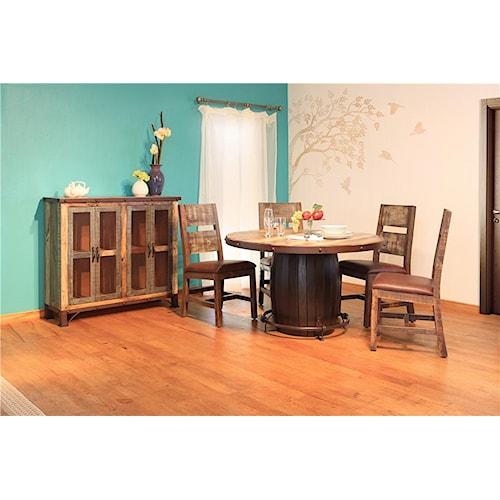 International Furniture Direct 970 5PC Barrel Dining Set