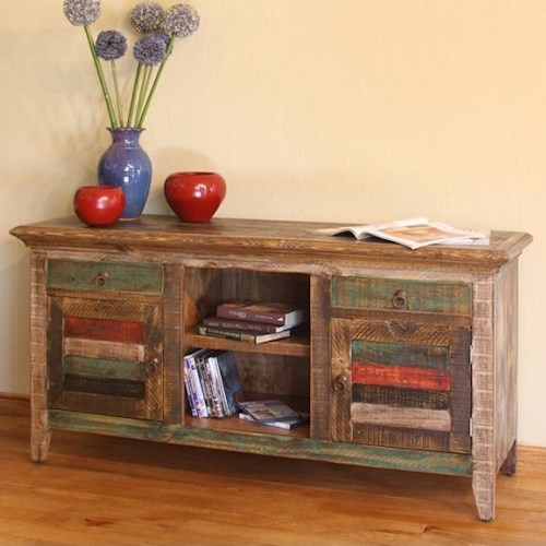 International Furniture Direct 900 Antique Modern Rustic Multicolor Console with 2 Doors