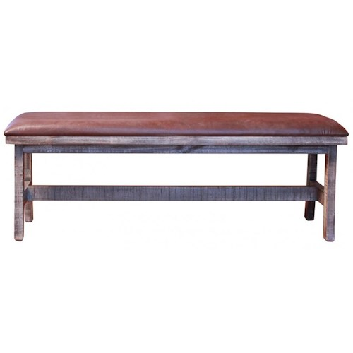 International Furniture Direct 900 Antique Rustic Breakfast Bench with Bonded Leather Seat