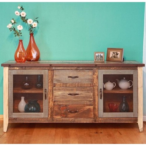 International Furniture Direct 900 Antique Rustic Casual Multicolor Buffet with Iron Mesh Door Panels