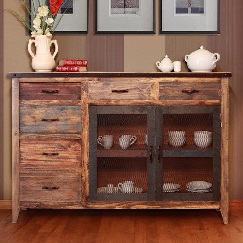 International Furniture Direct 900 Antique Multicolor Buffet with 6 Drawers