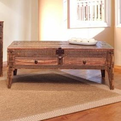 International Furniture Direct 900 Antique Rustic Lift Top Cocktail Table with 2 Drawers