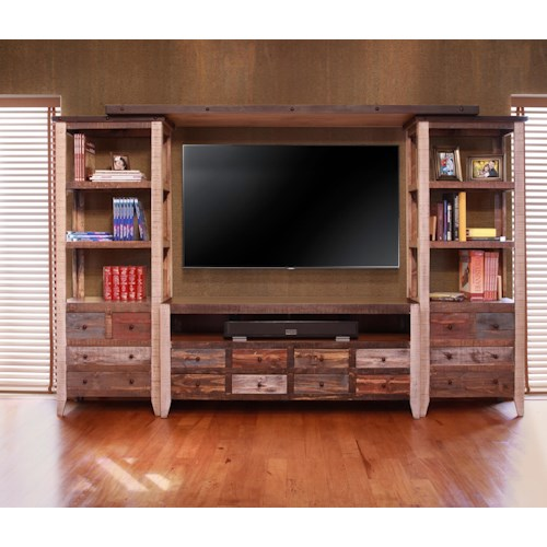 International Furniture Direct 900 Antique Wall Unit with 2 Piers and TV Stand