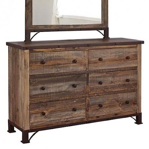 International Furniture Direct 900 Antique Rustic 6 Drawer Dresser