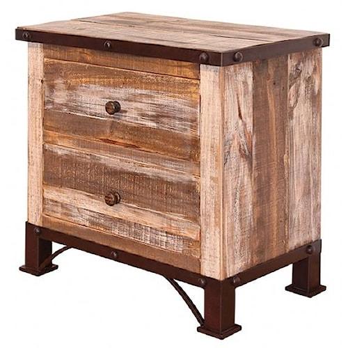International Furniture Direct 900 Antique Rustic 2 Drawer Night Stand