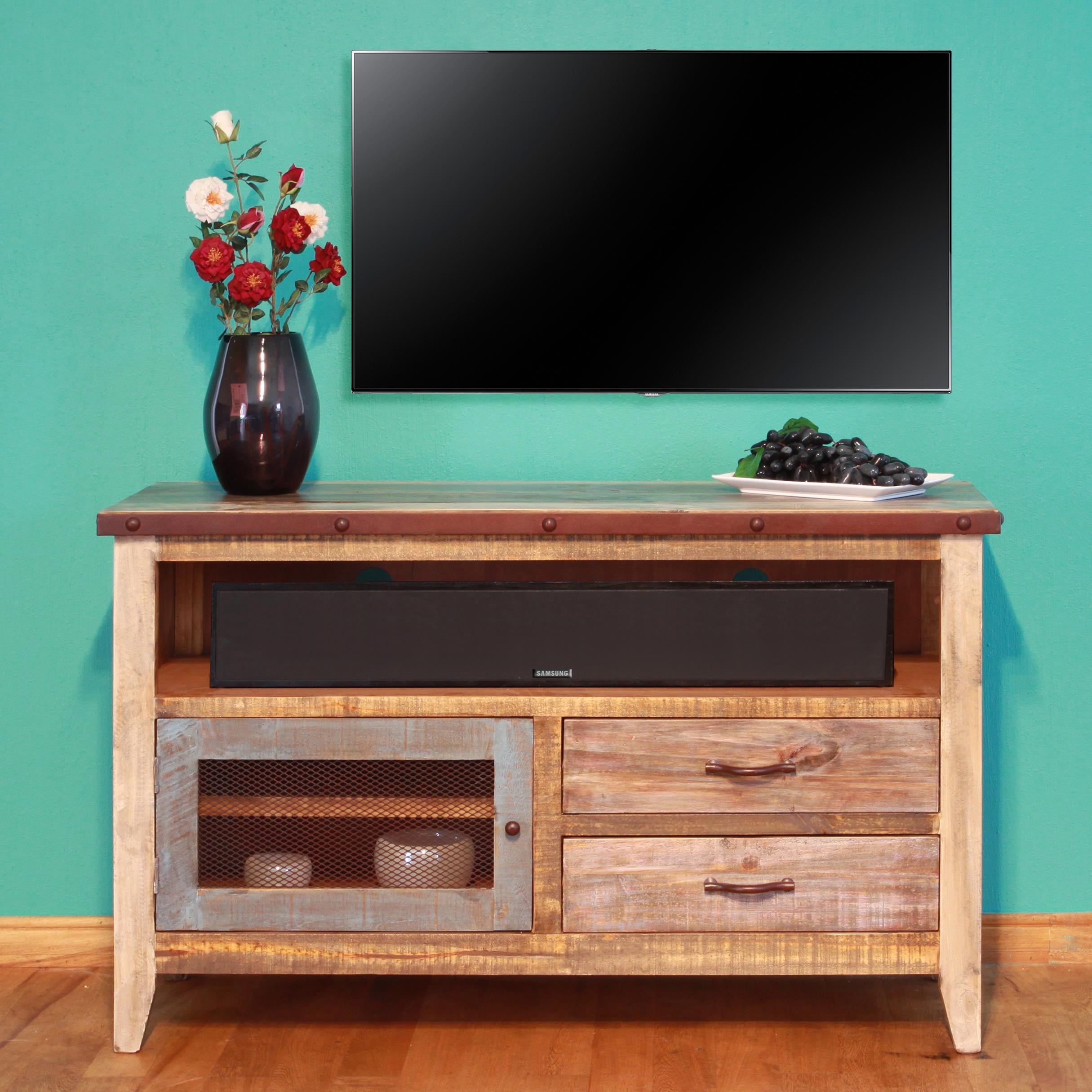 International Furniture Direct 900 Antique Solid Pine 52u0026quot; TV Stand - Furniture and ApplianceMart ...