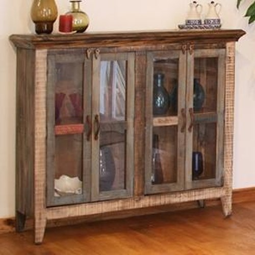 International Furniture Direct 900 Antique Casual Rustic Multicolor Console with 4 Glass Doors