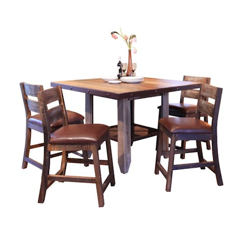 International Furniture Direct 900 Antique 5 PC Dining Set