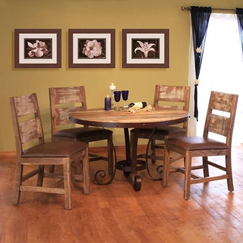 International Furniture Direct 900 Antique Rustic Multicolor 5 Piece Table and Chair Set with Iron Base