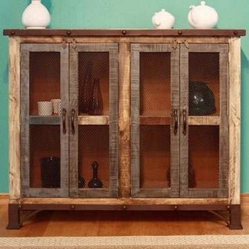 International Furniture Direct 900 Antique Rustic Multicolor Console with 4 Iron Mesh Doors