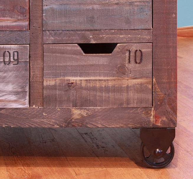 Multi-Color Finish and Drawer Numbering Created Rustic Look