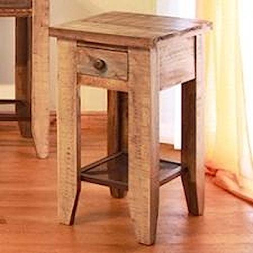 International Furniture Direct 968 Chair Side Table w/ 1 Drawer & Iron Mesh Shelf