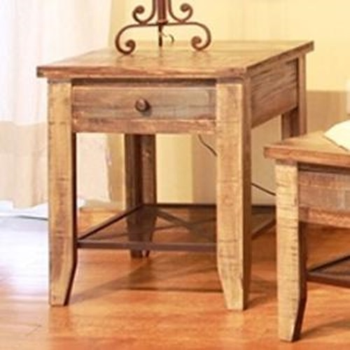 International Furniture Direct 968 End Table w/ 1 Drawer & Iron Mesh Shelf