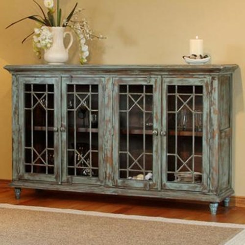 International Furniture Direct 970 Serving Table w/ 4 Doors and Distressed Finish