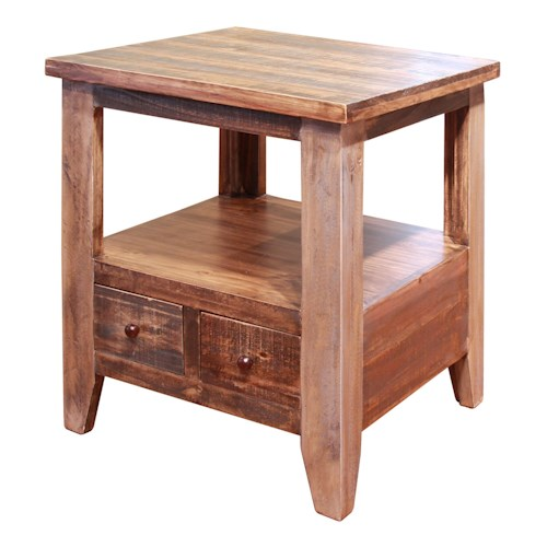 International Furniture Direct Antique End Table with 2 Drawers