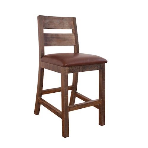 International Furniture Direct Bar Stools Counter Height Stool with Ladder Back