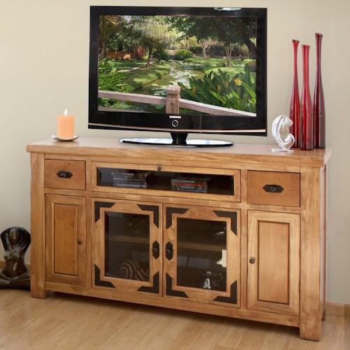International Furniture Direct Lodge Casual Rustic Entertainment Console