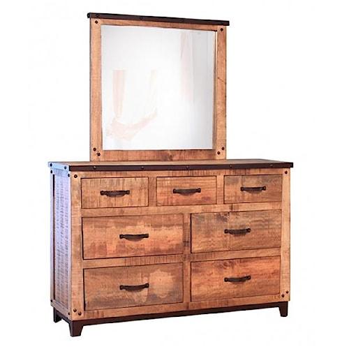 International Furniture Direct Maya Rustic Style 7 Drawer Dresser and Mirror Set