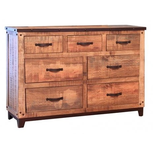 International Furniture Direct Maya Rustic Style Dresser with 7 Storage Drawers