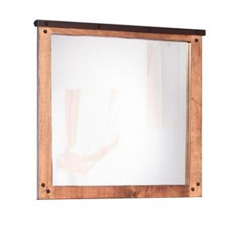 International Furniture Direct Maya Mirror with Wood Frame and Nail Head Details