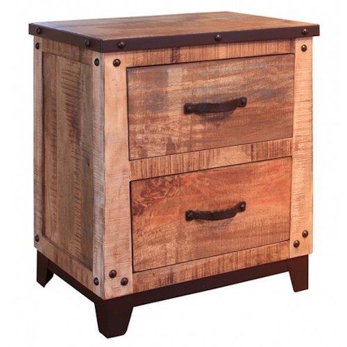 Artisan Home Maya 2 Drawer Nightstand with Iron Trim and Nail Head Details