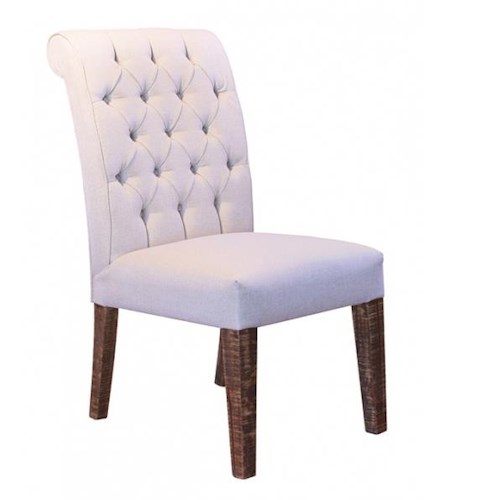 International Furniture Direct Milan 683 Traditional Upholstered Chair with Tufted Back and Wood Legs