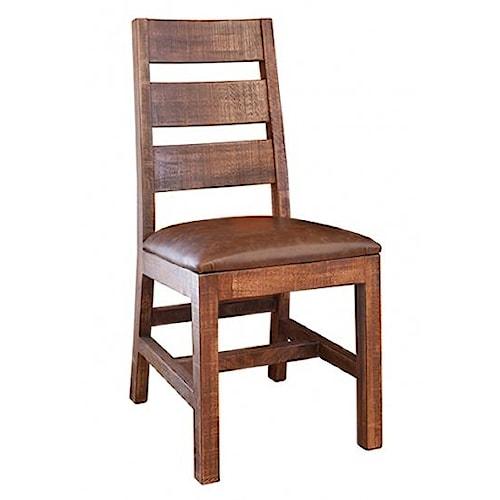 International Furniture Direct Monte Carlo Casual Rustic Ladder Back Chair
