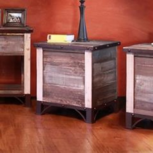 International Furniture Direct Occasional Storage End Table Iron and Nailhead Details