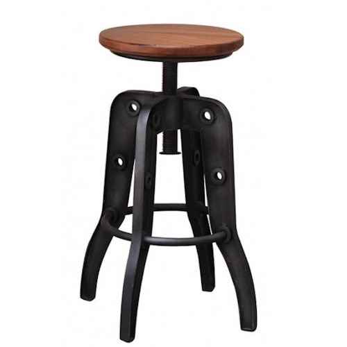 International Furniture Direct Parota 24-30 Inch Adjustable Height Stool