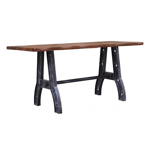 International Furniture Direct Parota Counter Height Table with Iron Industrial Base
