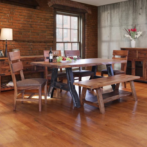 International Furniture Direct Parota Trestle Table with Chairs and Bench Set