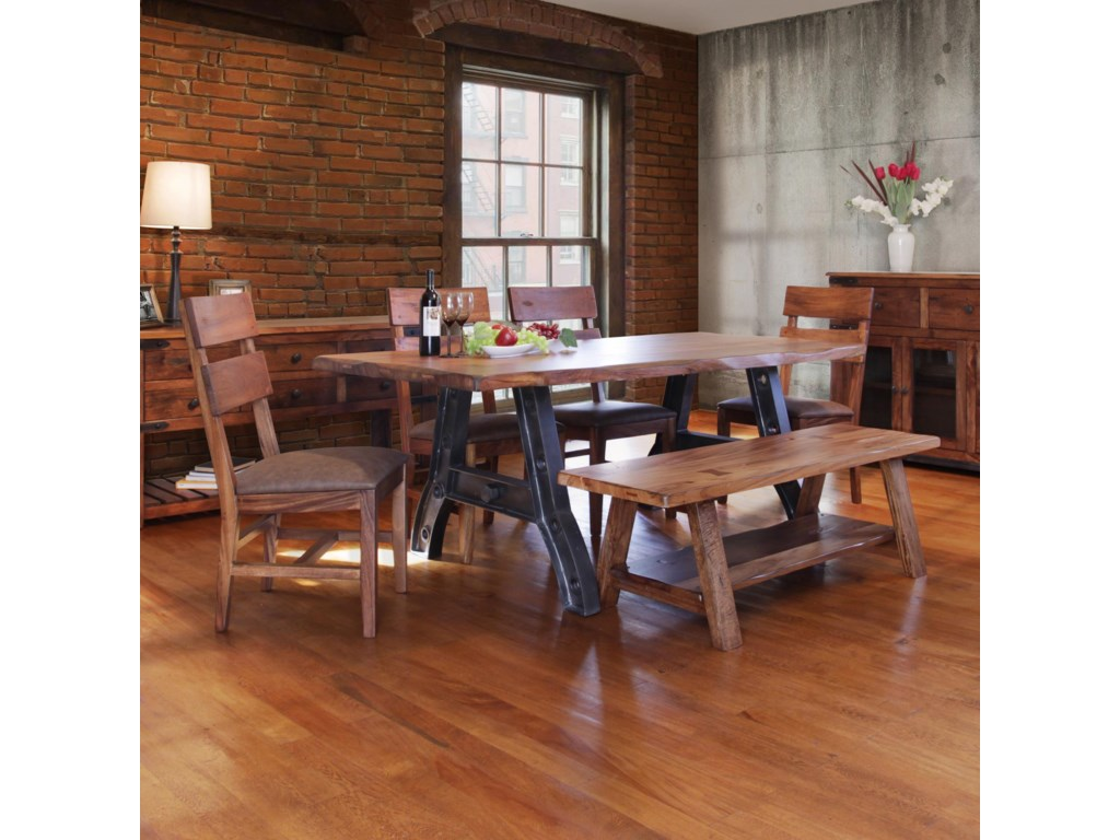 International Furniture Direct Parota Trestle Table with Chairs