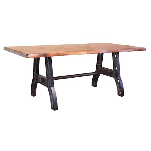 International Furniture Direct Parota Trestle Table with an Industrial Style Iron Base