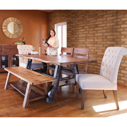 International Furniture Direct Parota Trestle Table with Iron Base with Bench and Chairs Set